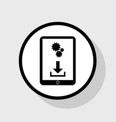 Phone icon with settings symbol flat vector