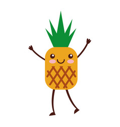 pineapple tropical and exotic fruit kawaii vector image vector image