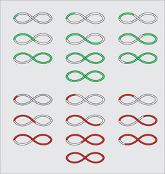 Progress bars in the form of a symbol infinity vector image vector image