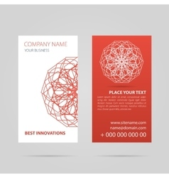 Red business card with mandala vector