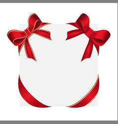 shiny red satin bows and red bow with yellow lines vector image vector image