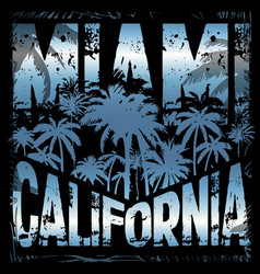 summer tee graphic design miami california vector image