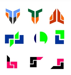 Technology logo set vector
