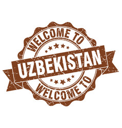 uzbekistan round ribbon seal vector image vector image