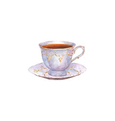 watercolor porcelain cup of tea and saucer vector image vector image
