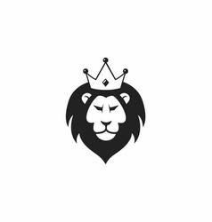Wild lion with crown logo icon design vector