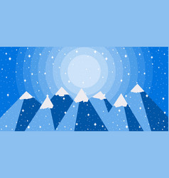 winter mountain landscape is flat style vector image