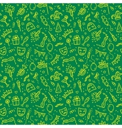 Yellow carnival symbols in doodle style on green vector image