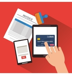 Document credit card tablet vector