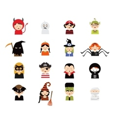 Set of 16 halloween costume characters and kids vector
