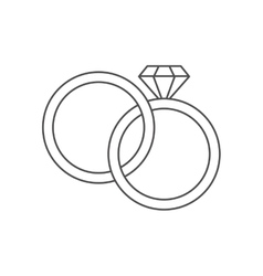Isolated rings of wedding design vector