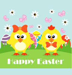 Happy holiday easter card funny chickens vector