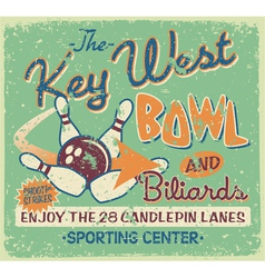 Vintage bowling signboard vector
