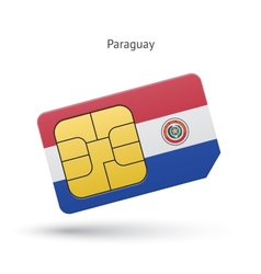 Paraguay mobile phone sim card with flag vector