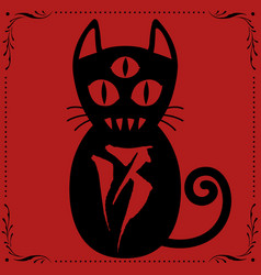 3 eyed cat n013 with floral frame ornament vector