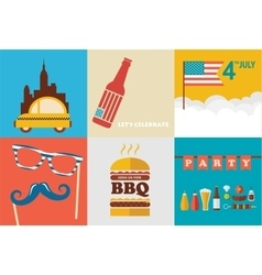 4th of july celebration an independence day set vector