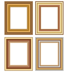 Four wooden carved frames isolated on white vector