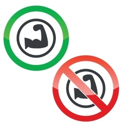 Weightlifting permission signs vector