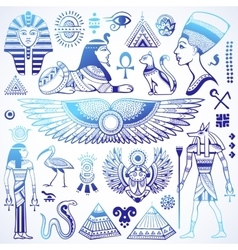 Set of isolated egypt symbols vector