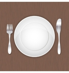 Empty white plate fork and knife vector