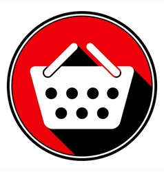 Red information icon - white shopping basket vector