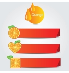 Shapes of orange fruit - set of banners vector