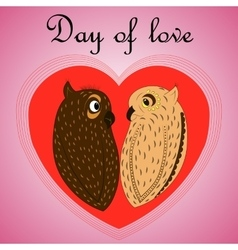 Owl lovers on valentines day vector