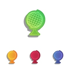 Earth globe sign colorfull applique icons set vector