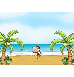 A monkey dancing on a beach vector image vector image