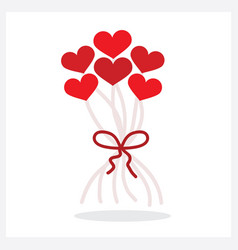 Abstract bunch of red heart shape helium vector