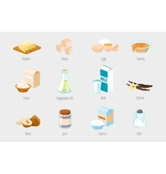 Baking ingredients in cartoon style set of vector