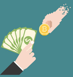 business man hand with dollars bank exchange money vector image