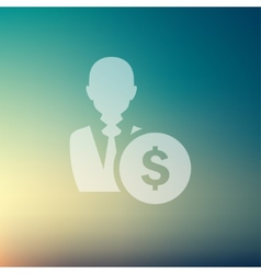 Businessman with dollar sign in flat style icon vector image