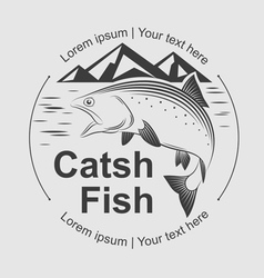 catch fish symbol vector image vector image