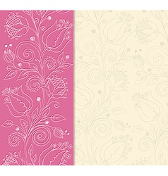 decorative pink background with hand drawn flowers vector image
