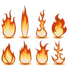 fire and flames symbols set vector image