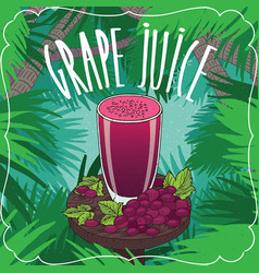 fresh grape juice in glass with ripe fruits vector image vector image