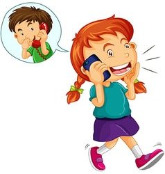 Girl talking to boy on the cellphone vector