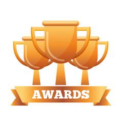 golden trophies success award ribbon vector image