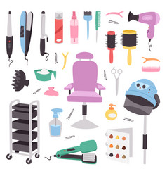 hairdressing salon barbershop devices symbols vector image