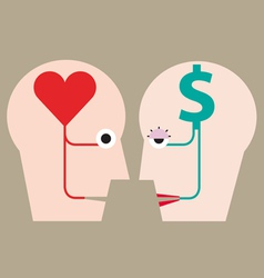 Heart and money in head concept vector