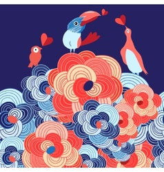 lovers of birds on the flowers vector image vector image