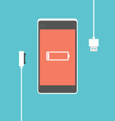Mobile phone charging proces vector