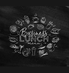 monogram business lunch chalk vector image vector image