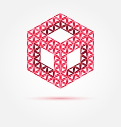 red cube isometric icon made with triangles - vector image