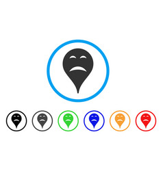 sadness smiley map marker rounded icon vector image