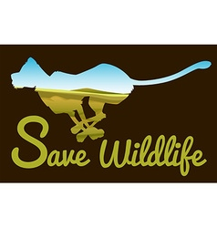 Save wildlife theme with tiger running vector