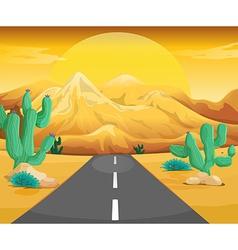 Scene with road in the desert vector