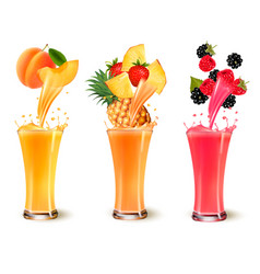 set of fruit juice splash in a glass apricot vector image vector image