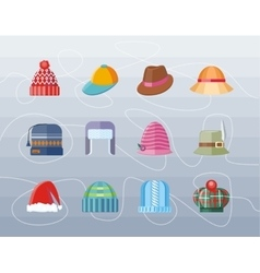 Set of Hat Flat Design Collection vector image